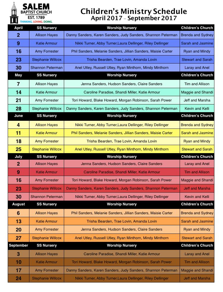 Childrens Church Schedule 2